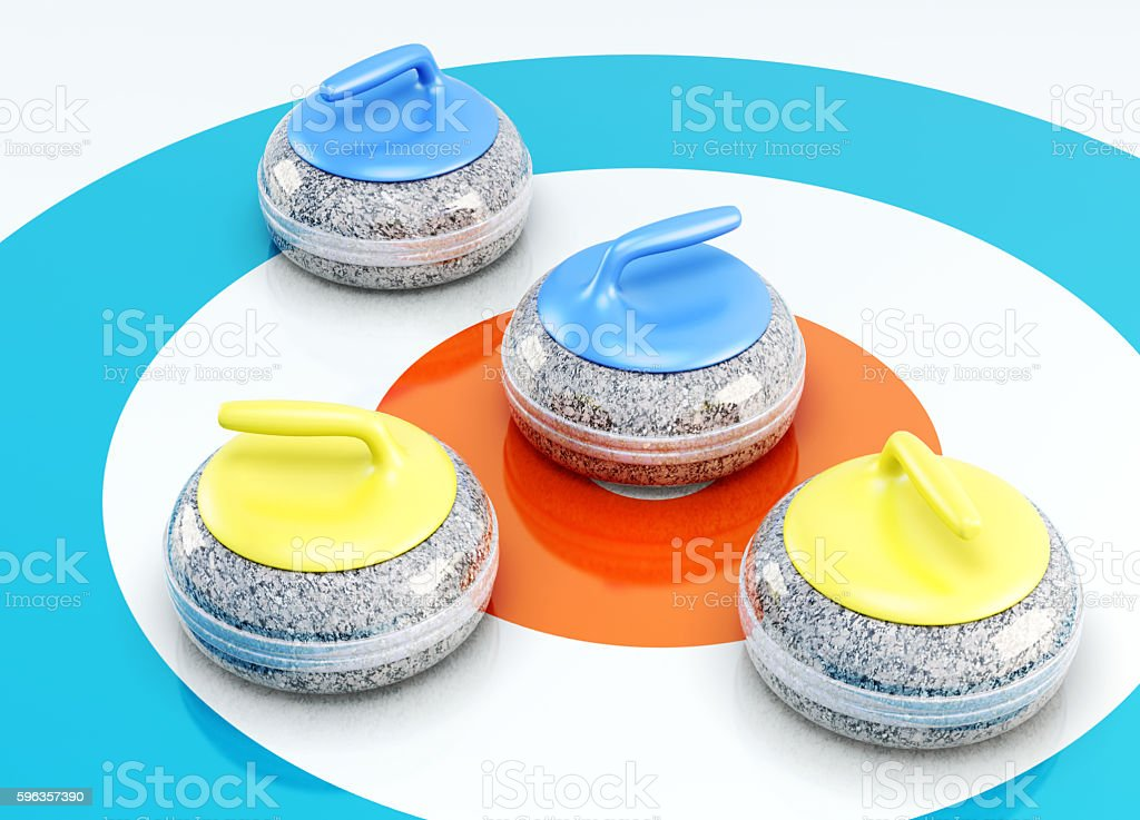 Curling stones closeup of shuffleboard on ice. 3d render image stock photo