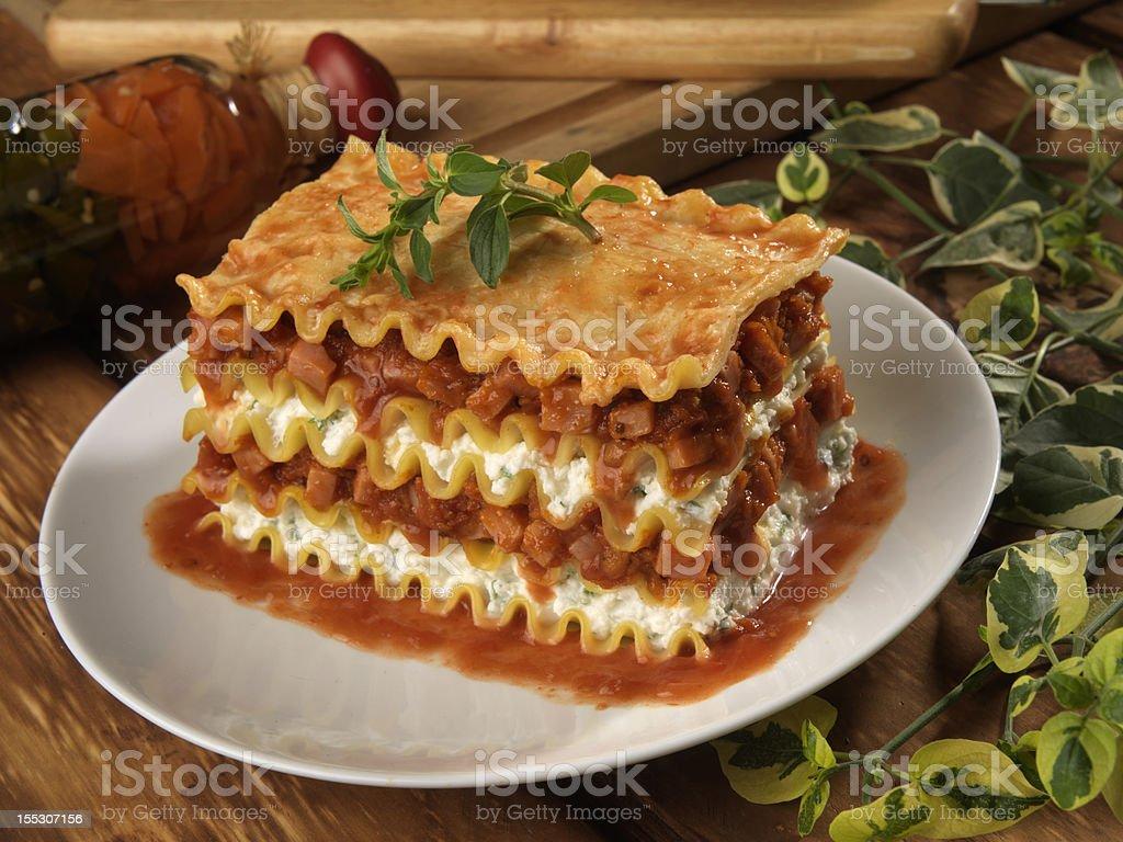 curly edged lasagna stock photo