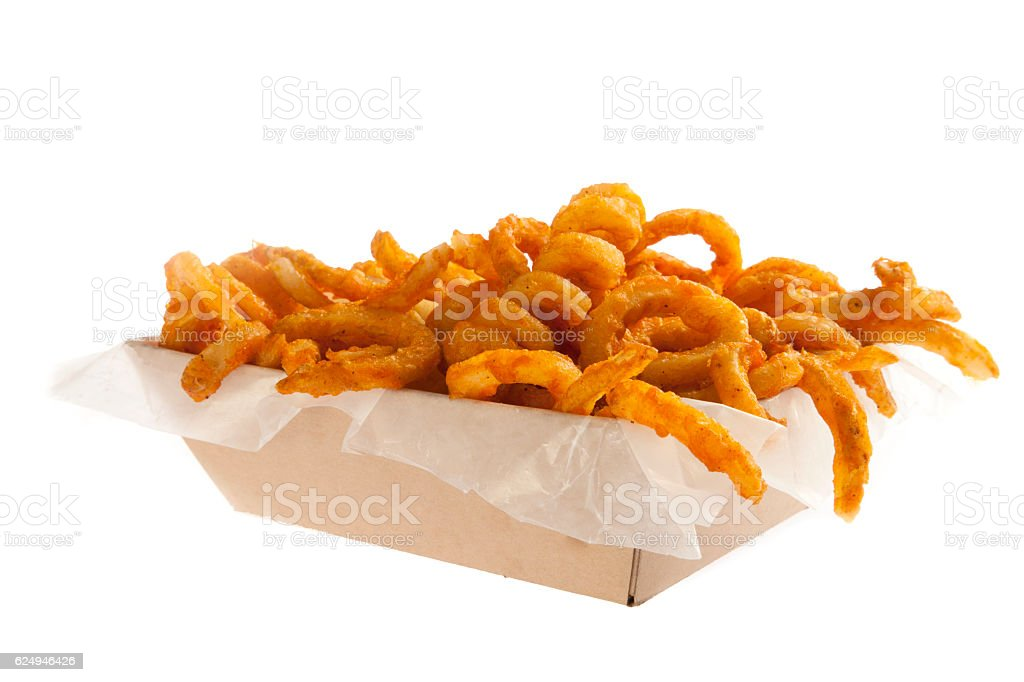 Curly fries served in a box stock photo