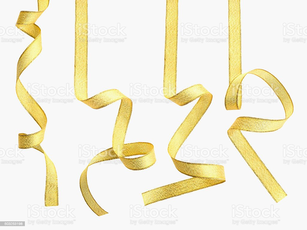 Curly gold ribbon stock photo