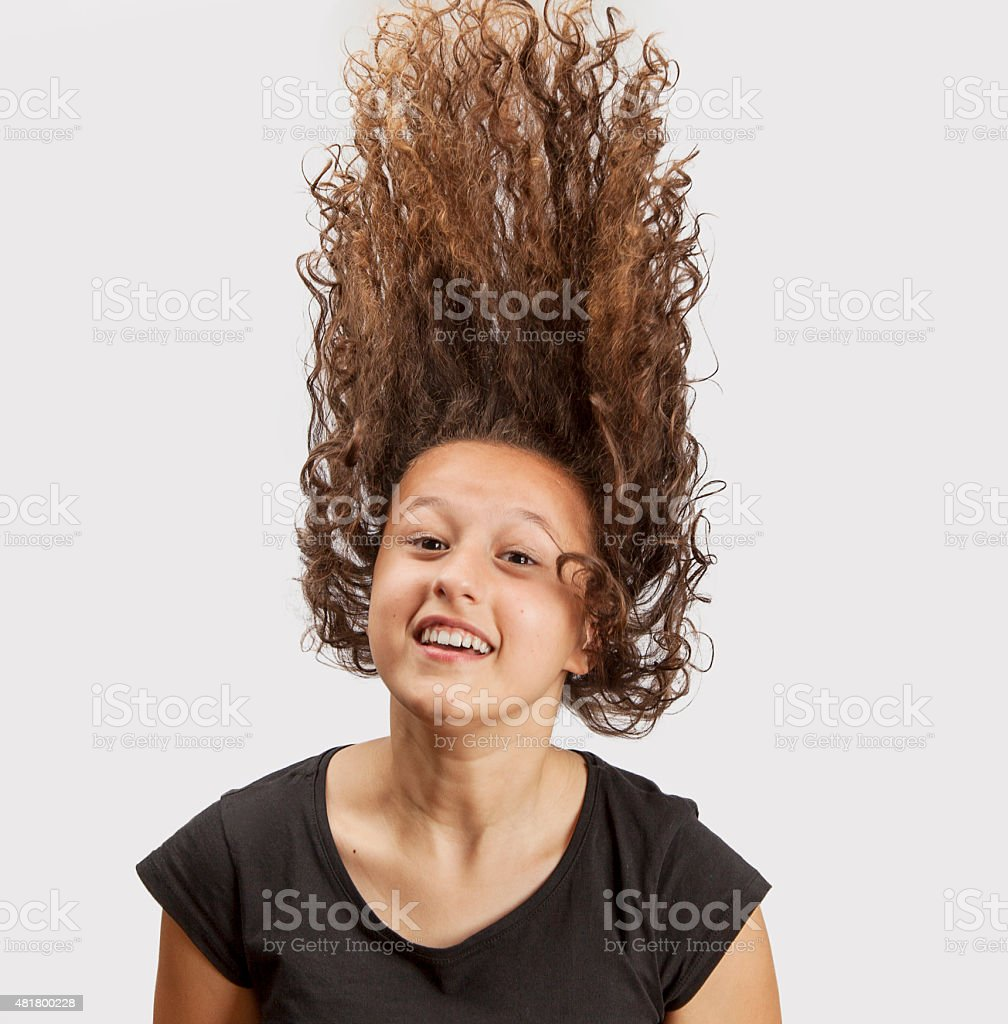 Curly hair fly stock photo
