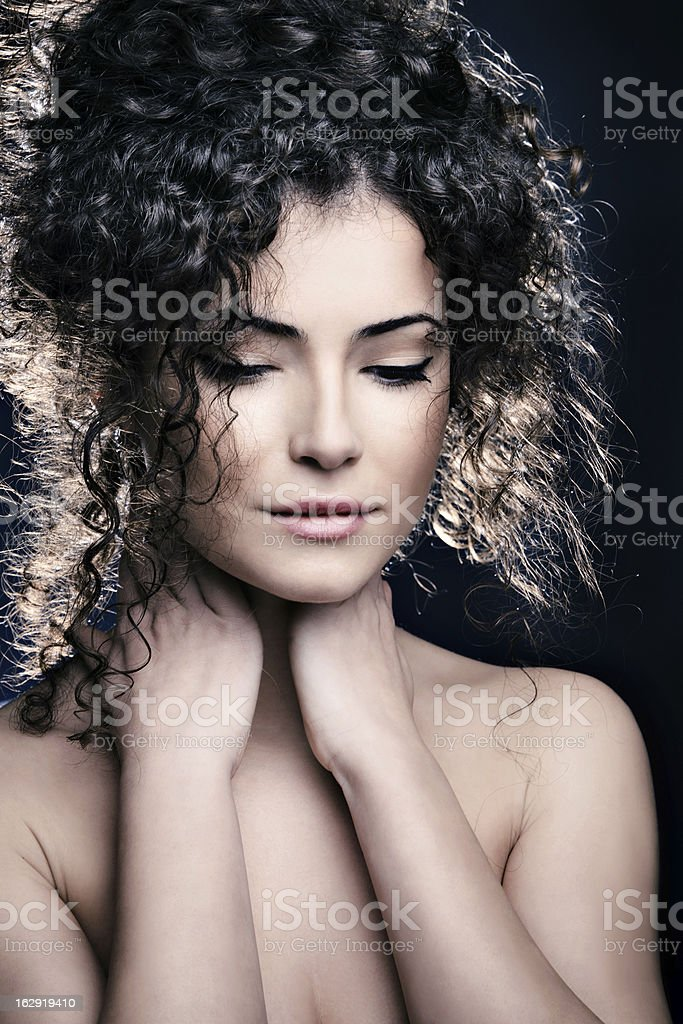 curly hair woman royalty-free stock photo