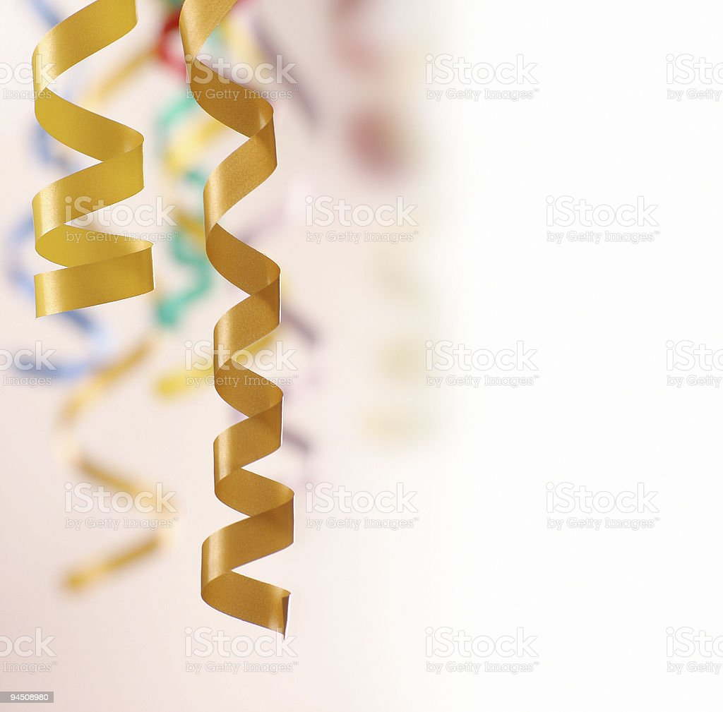Curly ribbons hanging stock photo