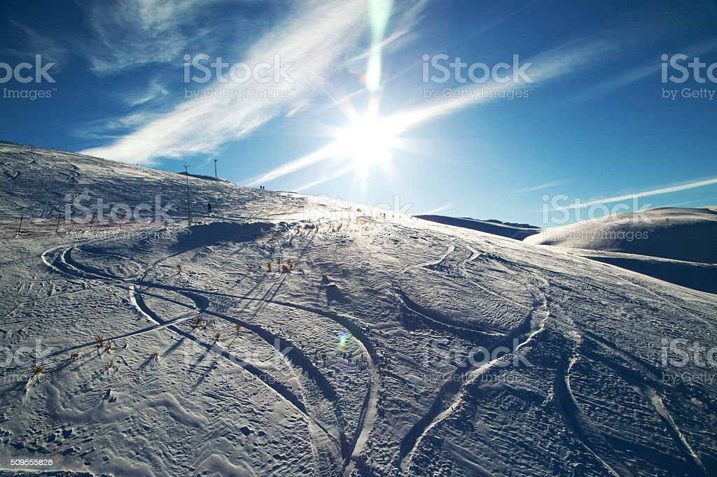 Curly trace of skis stock photo