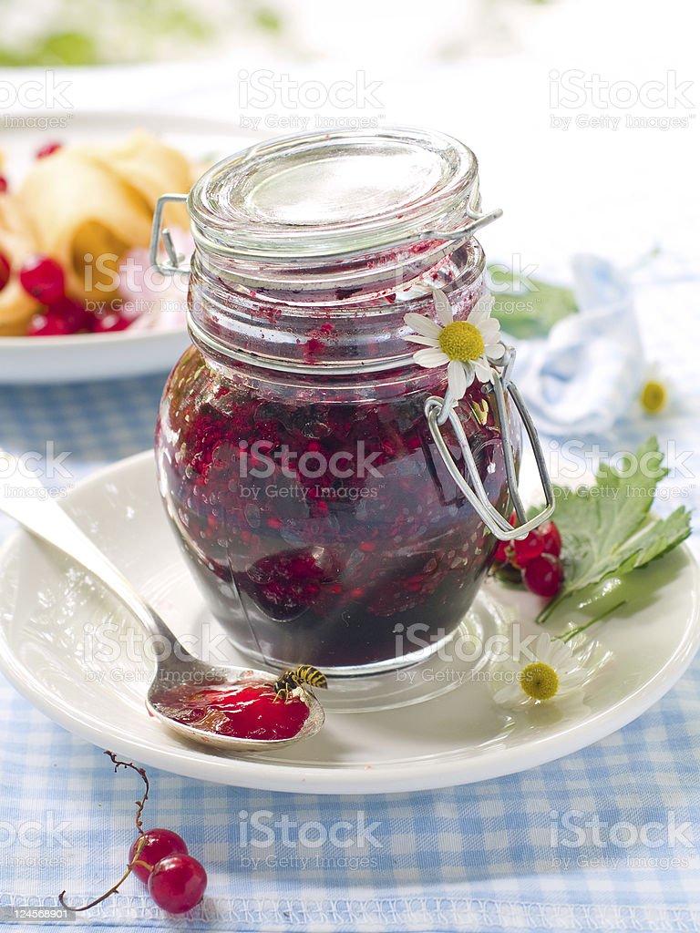 Currant jam in jam-jar stock photo