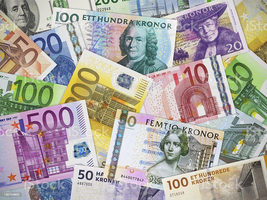 Currencies collection: Euro, US dollar, Swedish krona and Danish krone stock photo