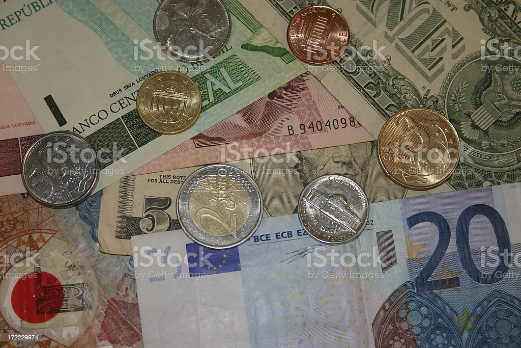 Currencies from all over the worl stock photo