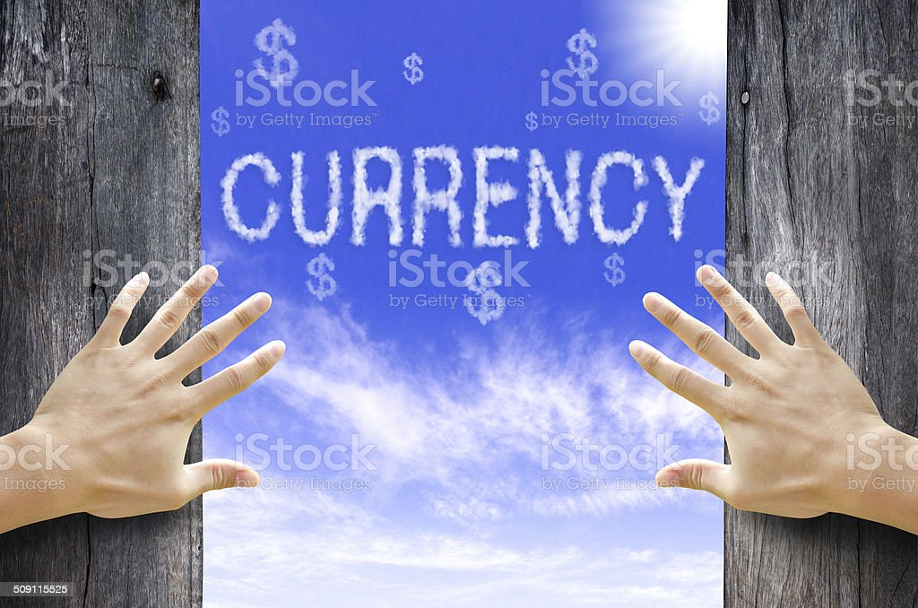 Currency and Dollar sign text cloud in the Sky. stock photo