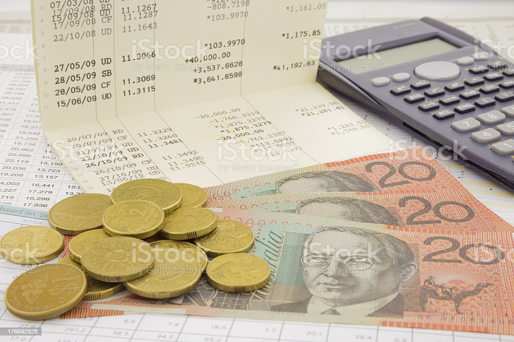 Currency and paper money of Australia stock photo