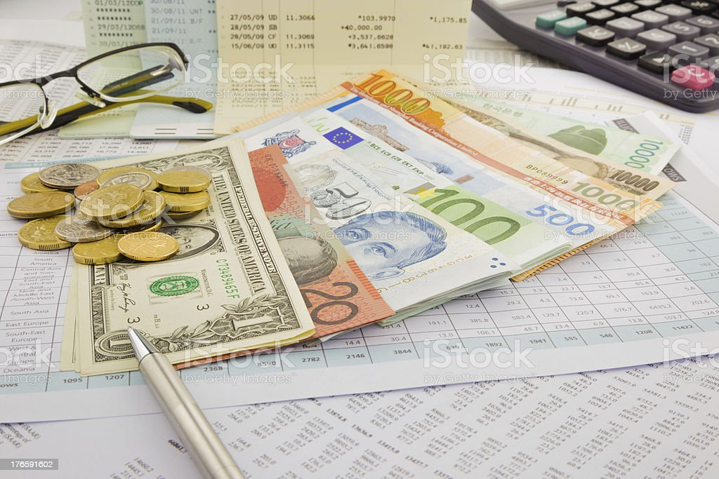 Currency and paper money of world royalty-free stock photo