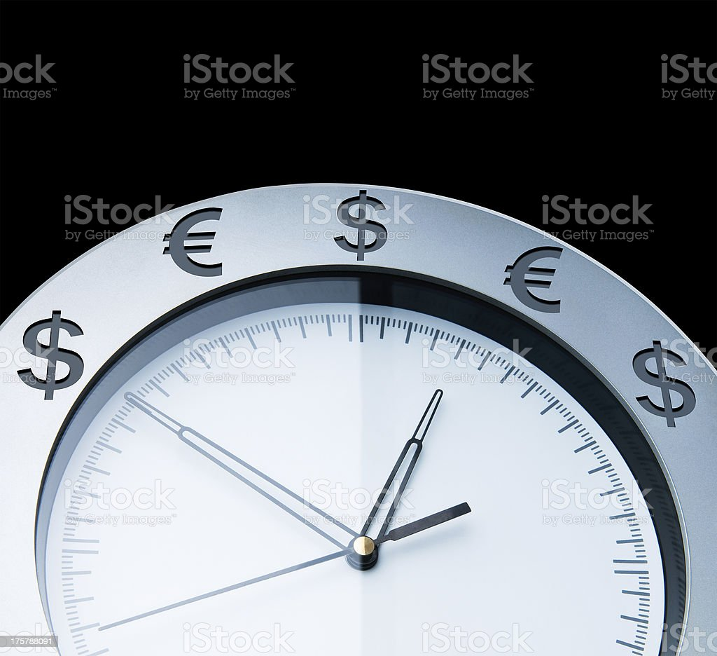 Currency clocks isolated on black royalty-free stock photo