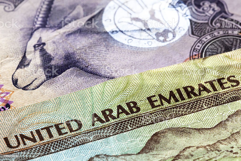 UAE Currency Closeup stock photo