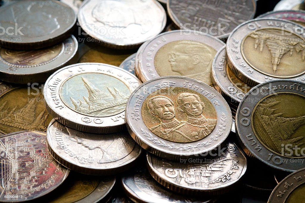 Currency coins, close up Thai baht coins of 5 and 10 baht. stock photo