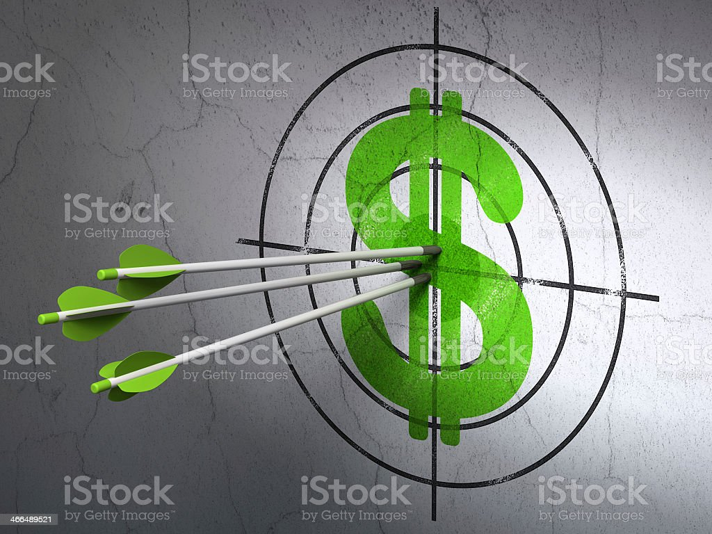 Currency concept of arrows I. A dollar target on a gray wall stock photo