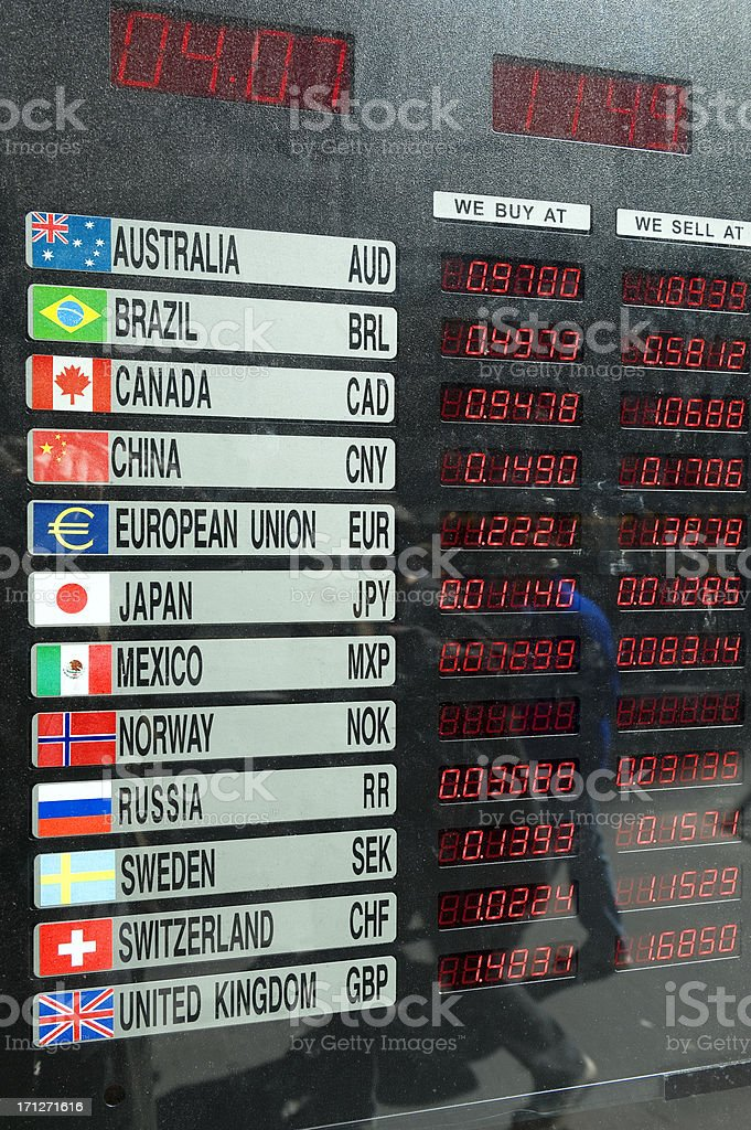 Currency exchange board stock photo