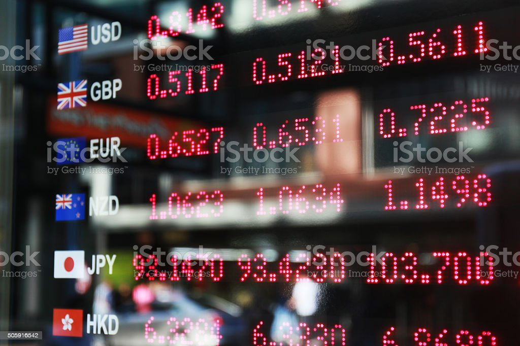 Currency exchange notice board stock photo