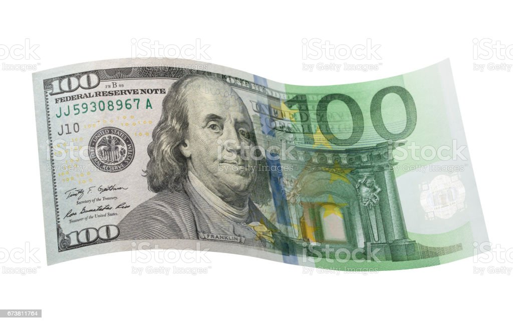 Currency exchange of one hundred dollar banknote with one hundred euro banknote stock photo