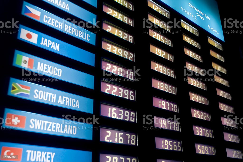 Currency exchange rate board stock photo