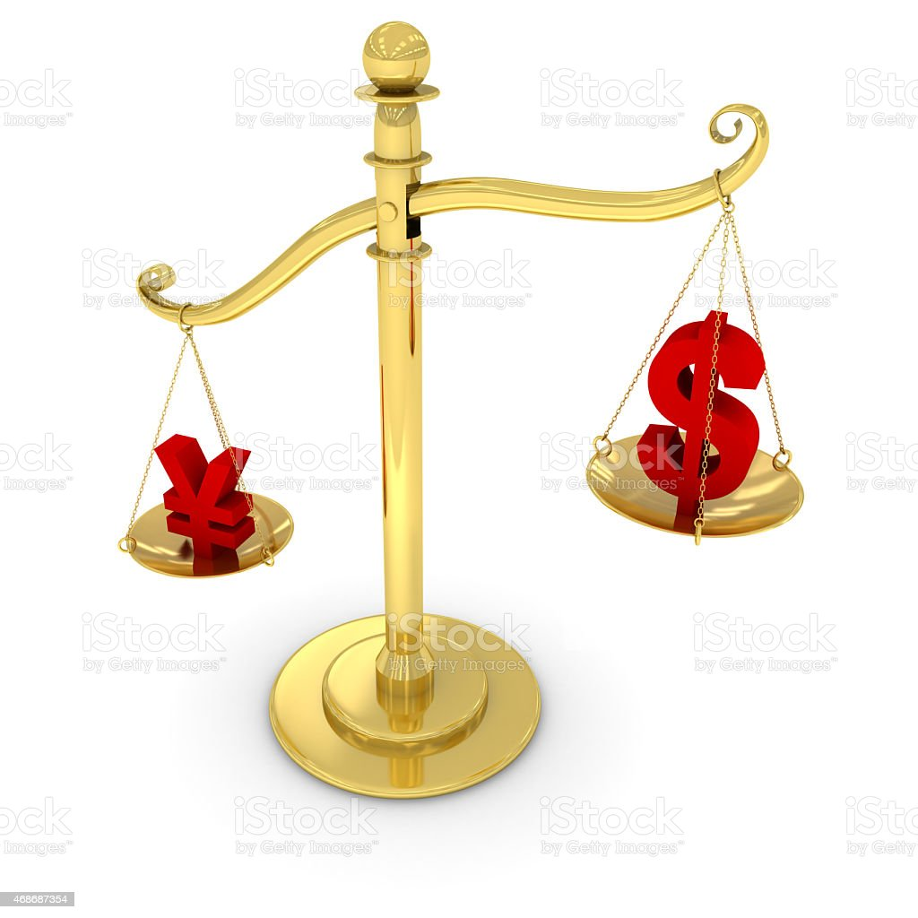 Currency Exchange Rate Concept - Dollar/Yen on Golden Scales stock photo