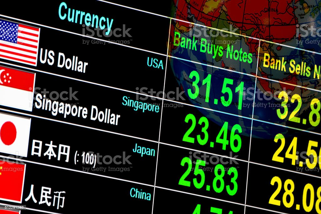 currency exchange rate on digital display board in global background stock photo