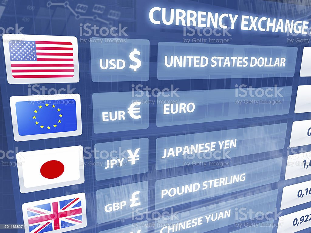 Currency exchange rates panel with data, numbers, charts stock photo