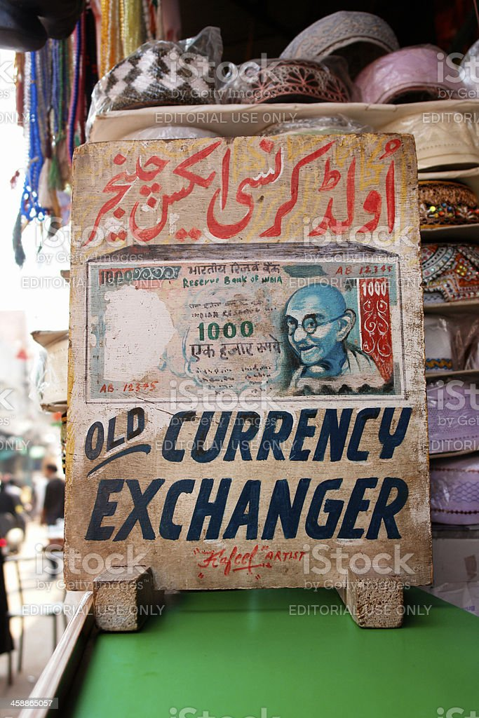 Currency exchanger banner in India royalty-free stock photo