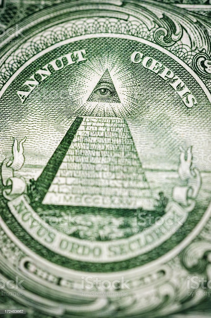 US currency: Eye of Providence on One Dollar note 1963 stock photo