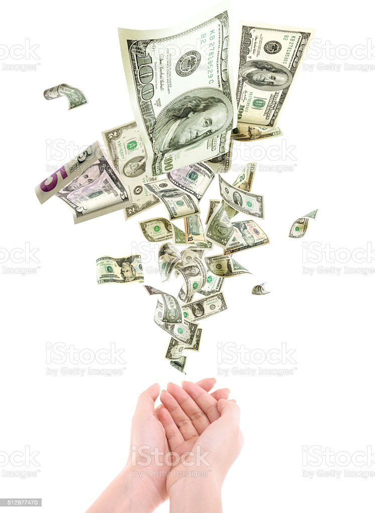 US Currency fall hand stock photo