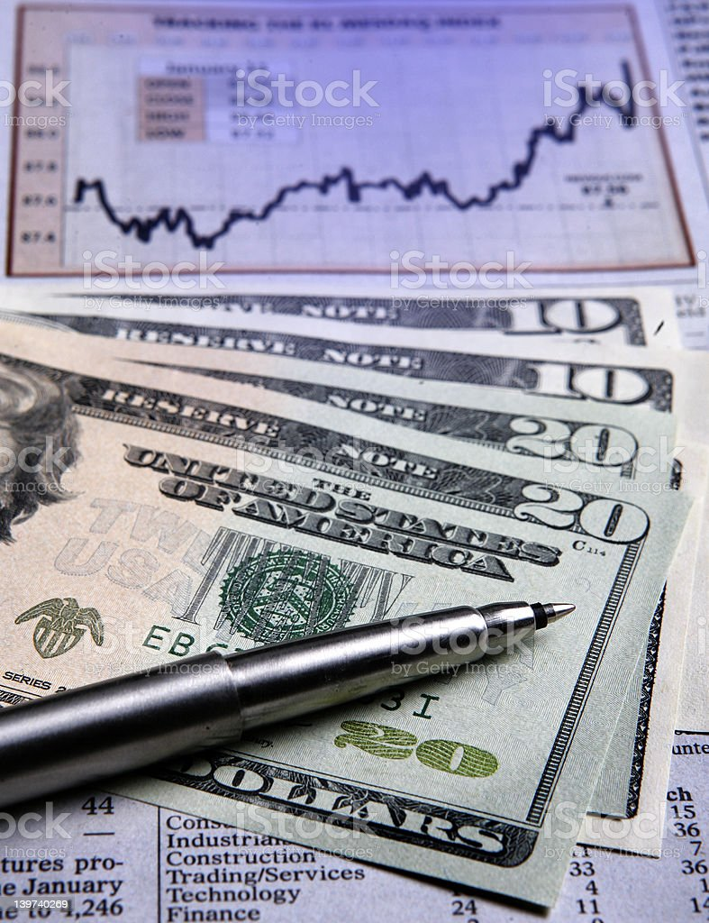 US currency - financial chart royalty-free stock photo