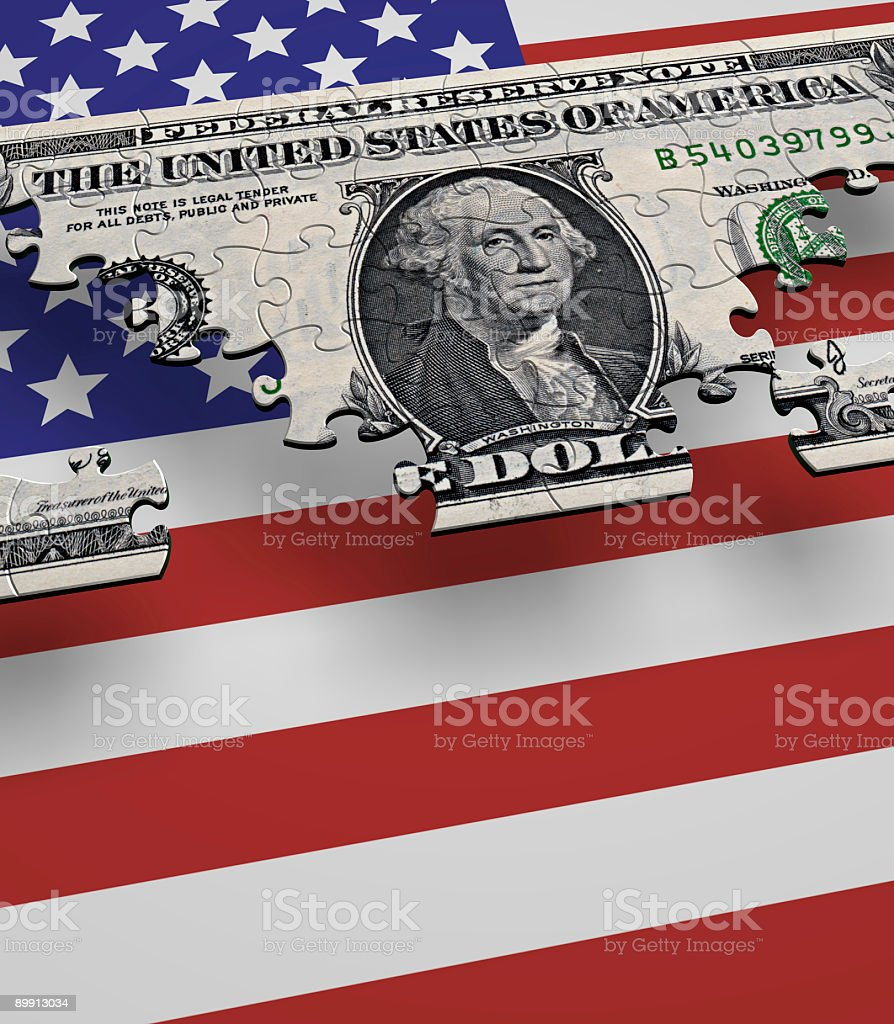 USA Currency Flag Puzzle stock photo