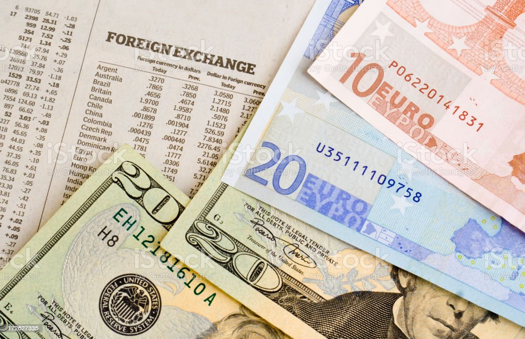 Currency Foreign Exchange Rates for US Dollars and European Euros stock photo