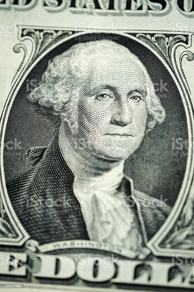 US currency: George Washington on One Dollar note 1963 royalty-free stock photo