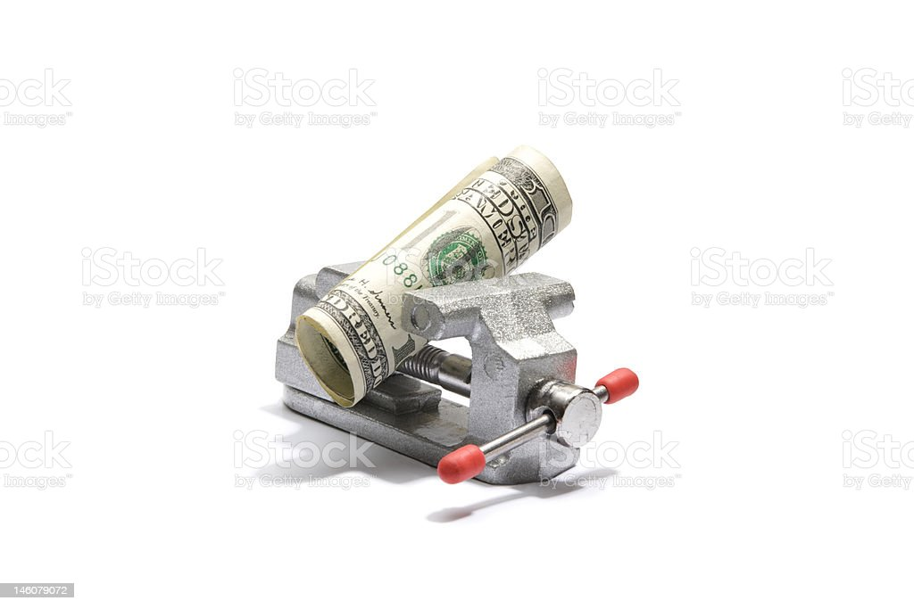 U.S. Currency in Vise stock photo