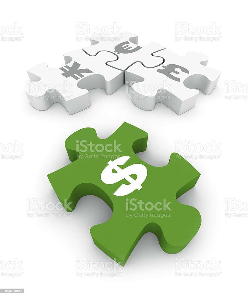 Currency Jigsaw Puzzle Symbols royalty-free stock photo