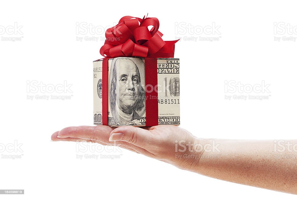 Currency Money Gift Box Container for Christmas on White Background royalty-free stock photo