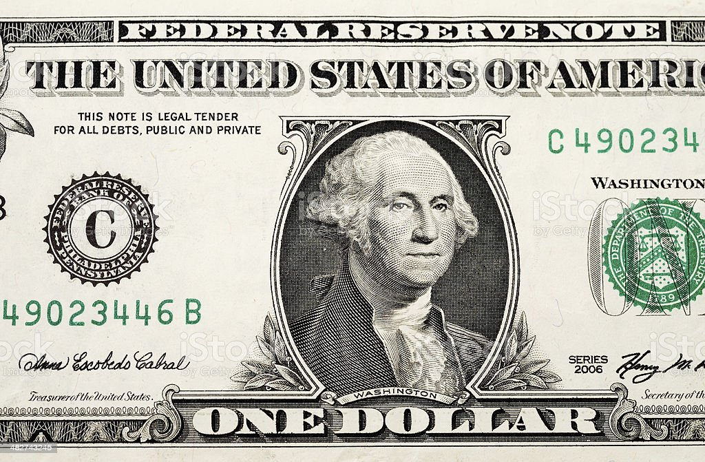 Partial one dollar bill stock photo