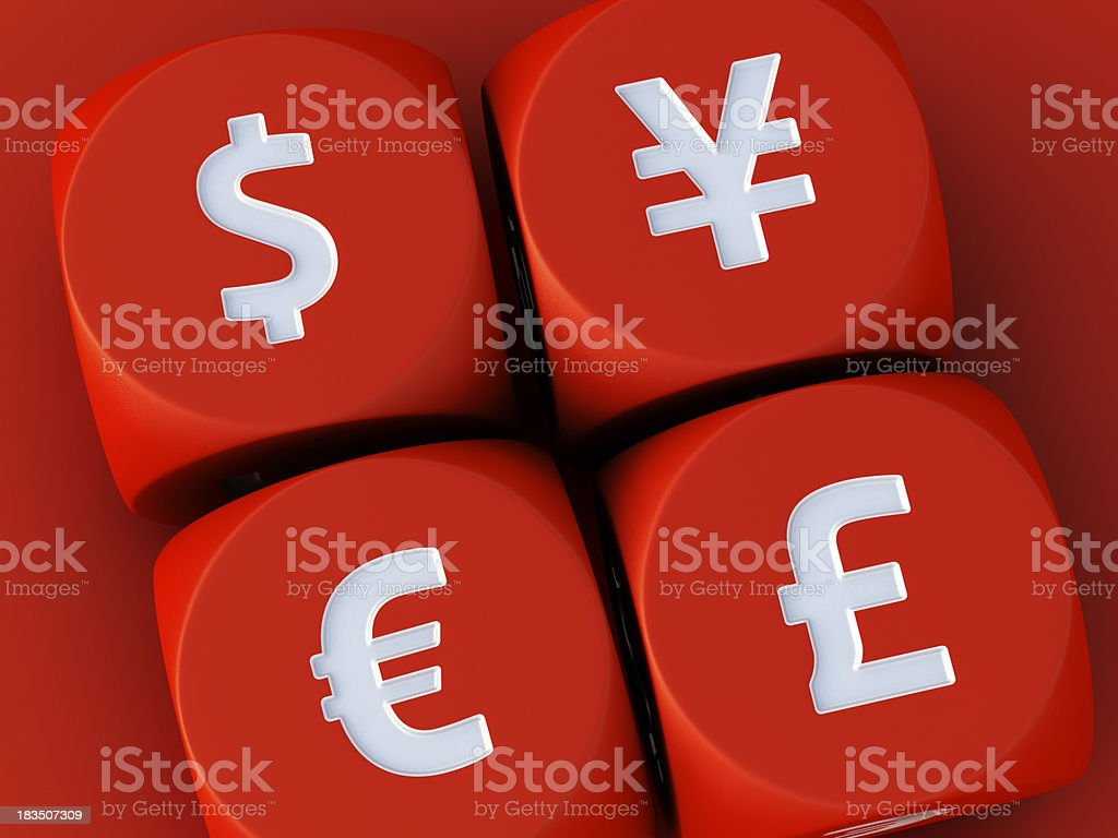 Currency Red Dices Euro Dollar Pound Yen royalty-free stock photo