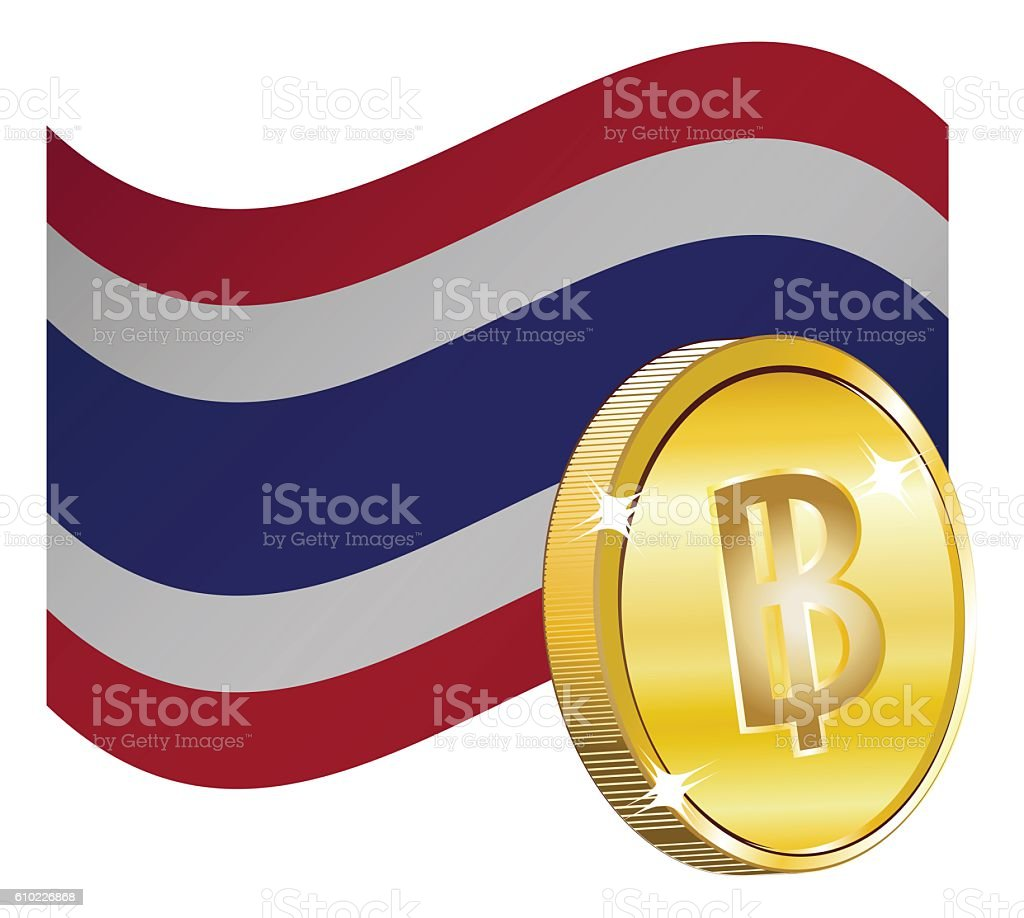 Currency Sign over Flag stock photo