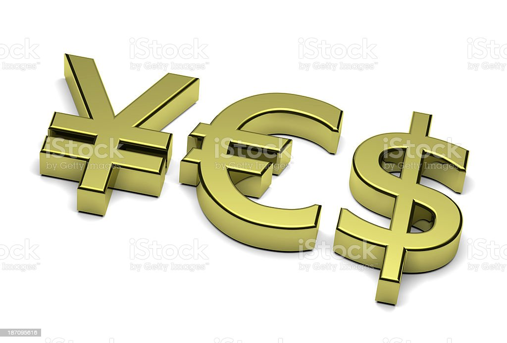 3D Currency Sign Yes Text royalty-free stock photo