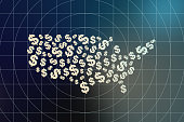 Currency symbol consisting of the map, US currency