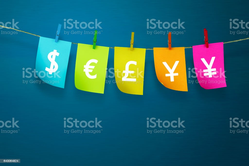 currency symbol in Sticky notes  with blue background stock photo