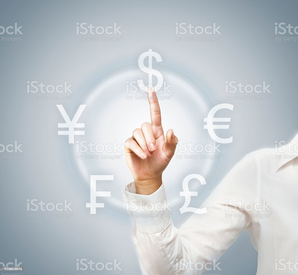 Currency symbol / Touch screen concept (Click for more) stock photo