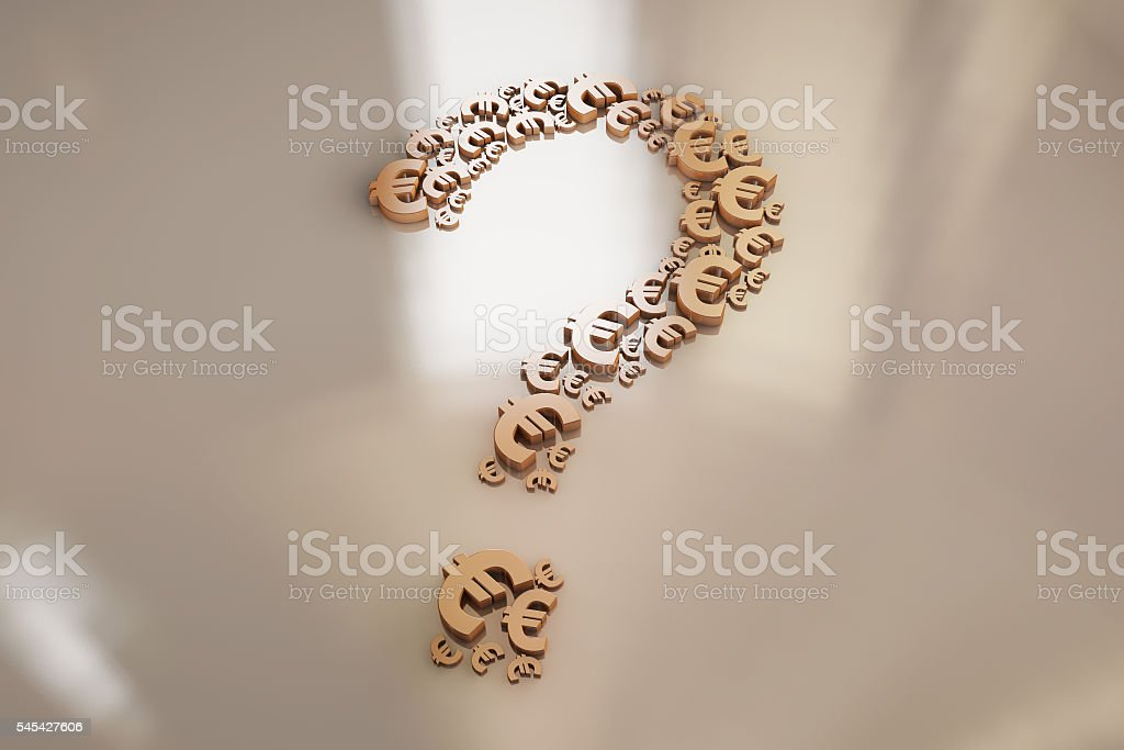 Currency symbols and question mark stock photo