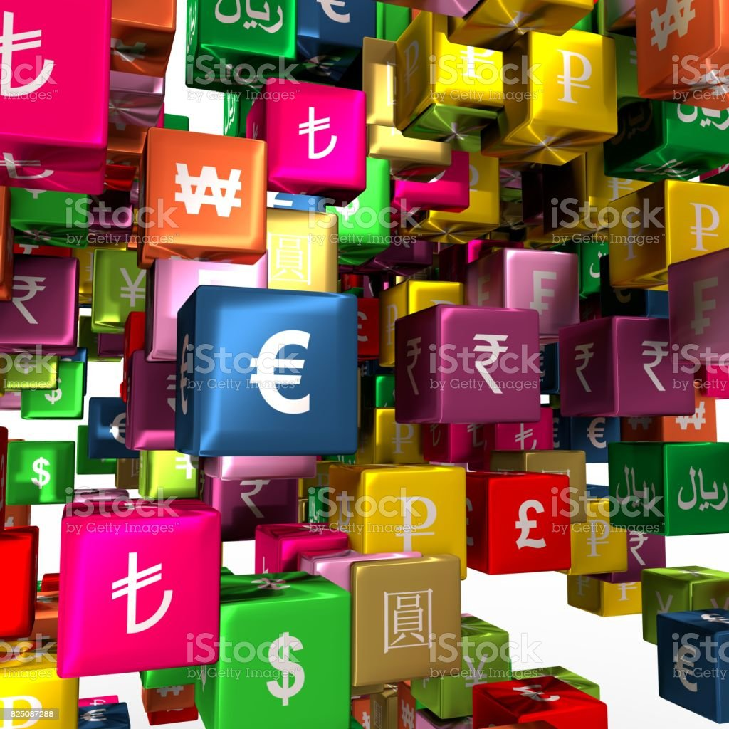 Currency symbols on floating boxes stock photo