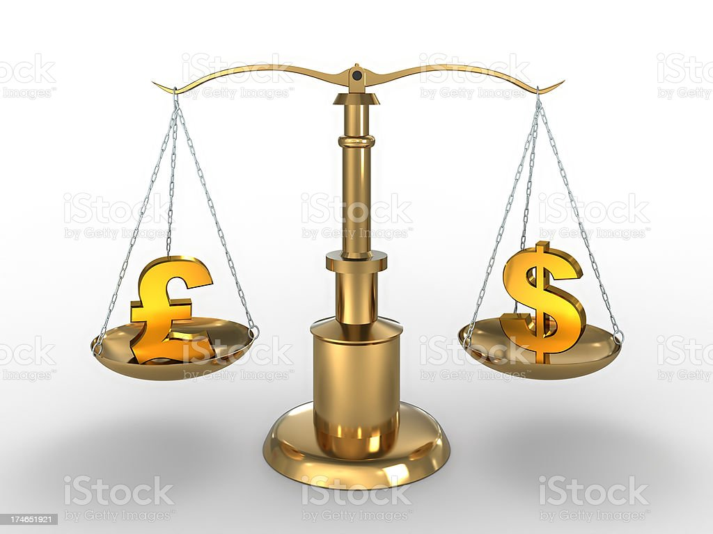 Currency symbols on scales with clipping path royalty-free stock photo