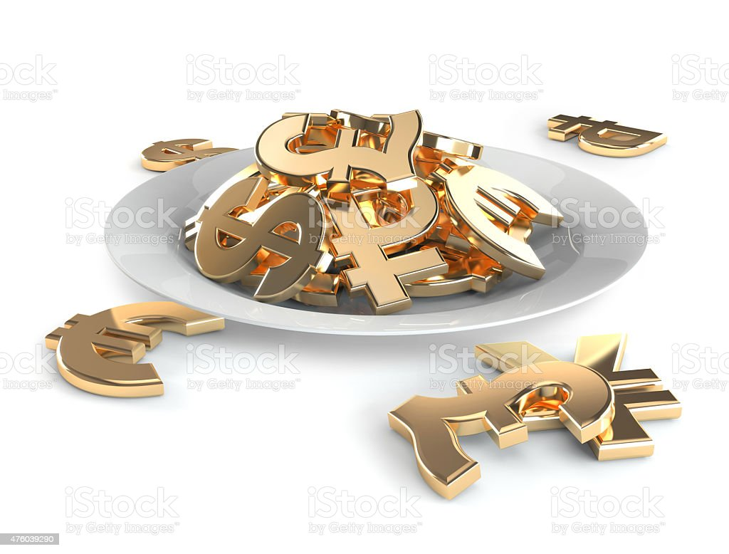 Currency symbols on the plate instead of food, render. stock photo