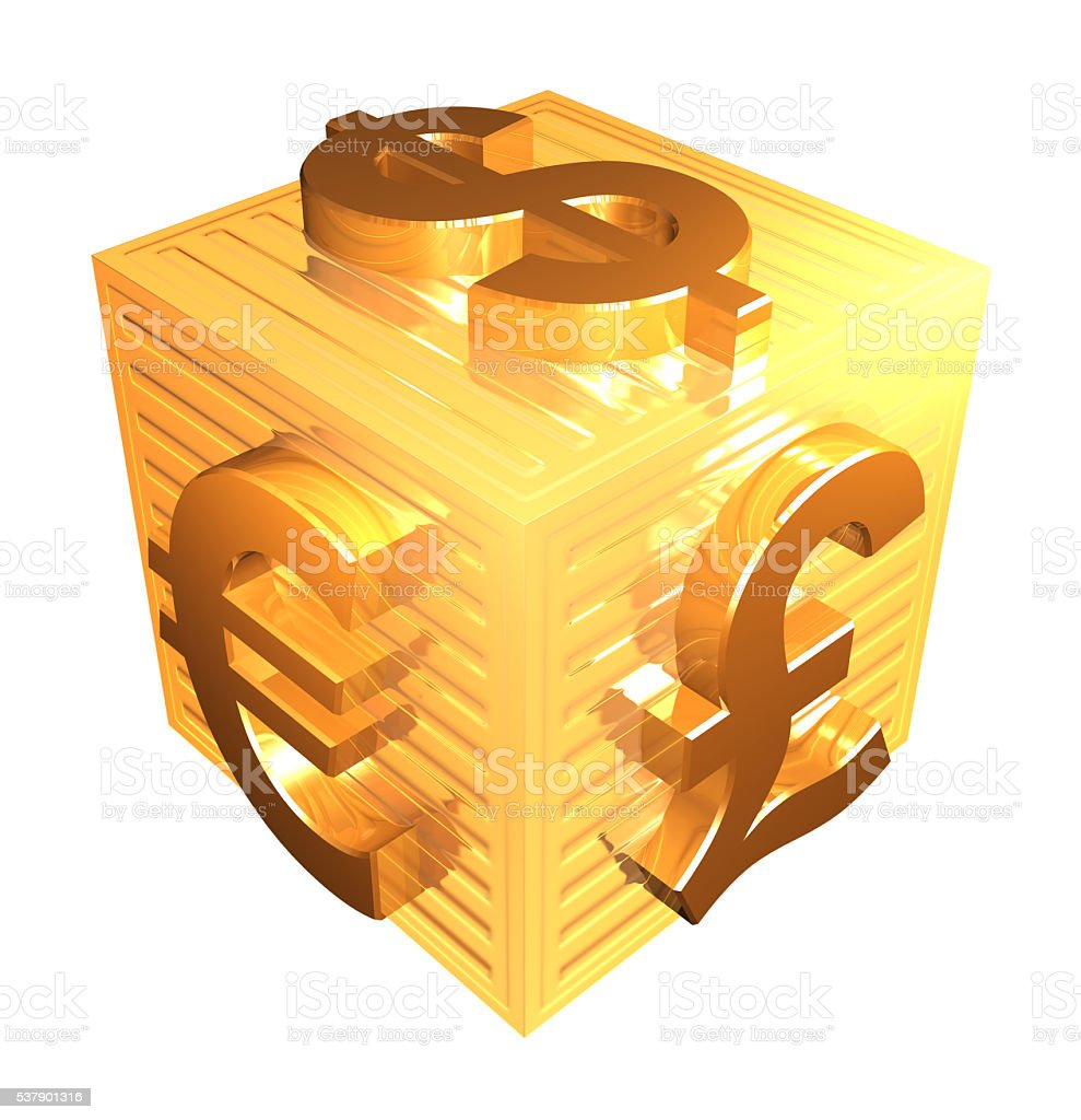 Currency symbols set on a golden box stock photo