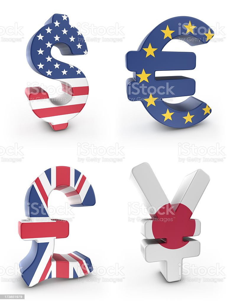currency symbols with flags royalty-free stock photo
