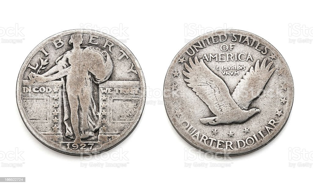 US Currency: The Standing Liberty Quarter Dollar 1927 stock photo