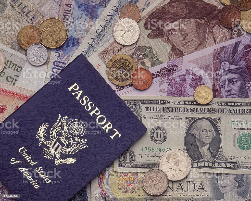 Currency with Passport stock photo